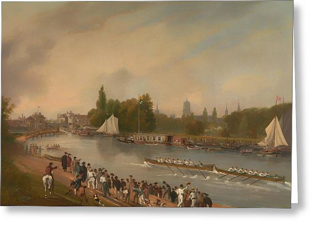 Historic England Paintings Greeting Cards - A Boat Race on the River Isis in Oxford Greeting Card by John Whessell