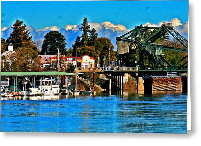 Delta Town Greeting Cards - A Boaters View  of Walnut Grove Greeting Card by Joseph Coulombe