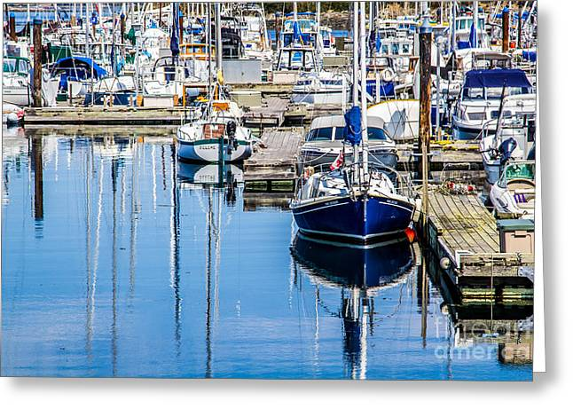 Boats At Dock Greeting Cards - A Boating Day Greeting Card by Alanna Dumonceaux