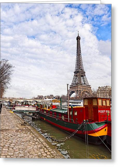 Eiffelturm Greeting Cards - A Boats View of the Eiffel Tower Greeting Card by Mark Tisdale