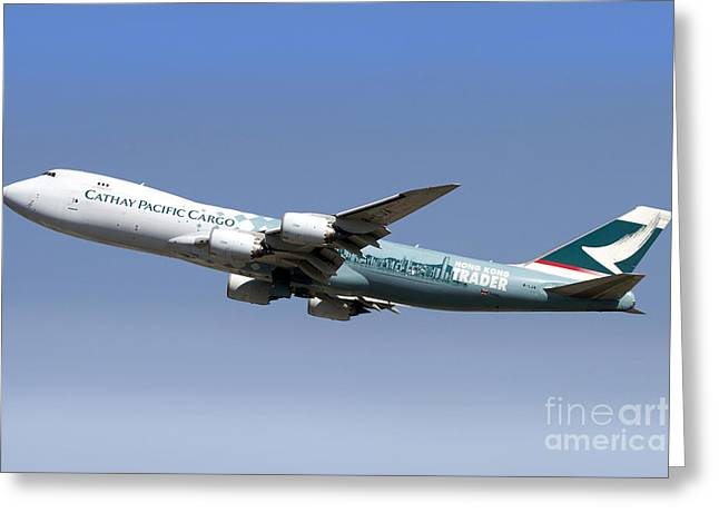 Recently Sold -  - Commercial Photography Greeting Cards - A Boeing 747-800 Cathay Pacific Cargo Greeting Card by Luca Nicolotti