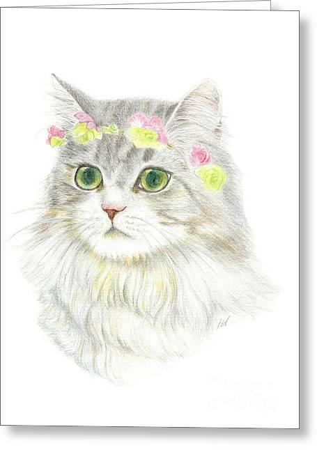 Custom Pet Drawing Greeting Cards - A Bohemian Princess With Flower Hair Garland Greeting Card by Jingfen Hwu