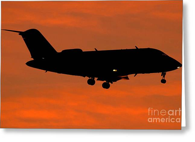 Private Jet Greeting Cards - A Bombardier Challenger Cl-600 Private Greeting Card by Luca Nicolotti