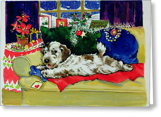 Tinsel Greeting Cards - A Bone For Christmas Greeting Card by Diane Matthes