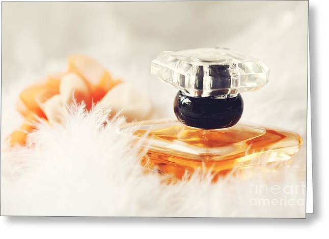 Bottle Of Perfume Greeting Cards - A bottle of perfume  Greeting Card by HJBH Photography