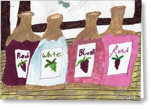 Table Wine Mixed Media Greeting Cards - A Bottle of Red Greeting Card by Elinor Rakowski