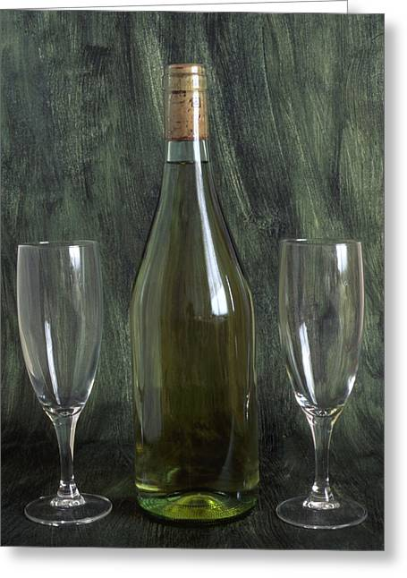 Grape Vineyard Greeting Cards - A bottle of wine Greeting Card by IB Photo