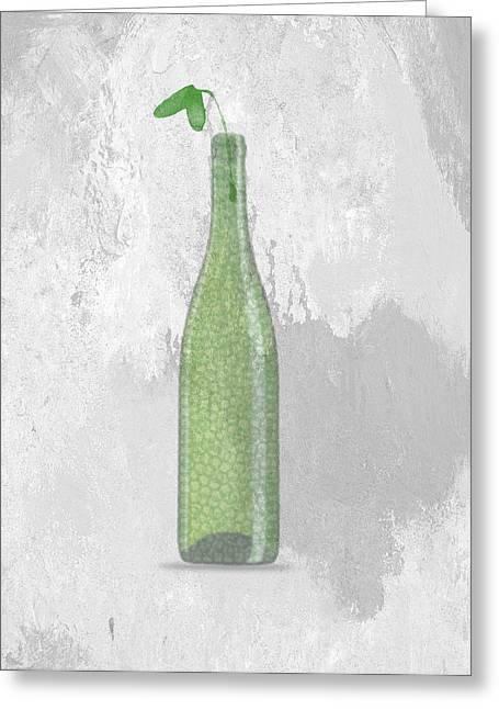 Art Decor Greeting Cards - A bottle with flower Greeting Card by Aged Pixel