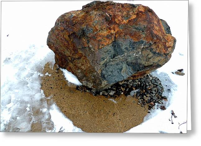 Engraving Greeting Cards - A Boulder With Many Facets Greeting Card by Marcia Lee Jones