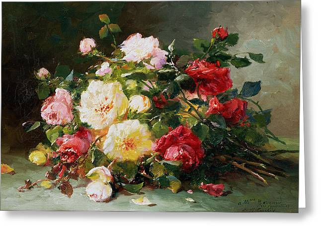 Tea Rose Greeting Cards - A Bouquet Of Roses Greeting Card by Eugene Henri Cauchois