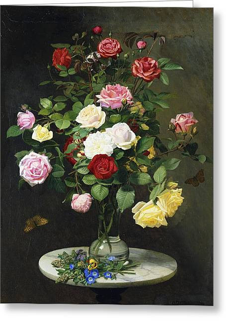 Glass Vase Paintings Greeting Cards - A Bouquet of Roses in a Glass Vase by Wild Flowers on a Marble Table Greeting Card by Otto Didrik Ottesen