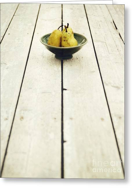 A Bowl Filled With Pears Greeting Card by Priska Wettstein
