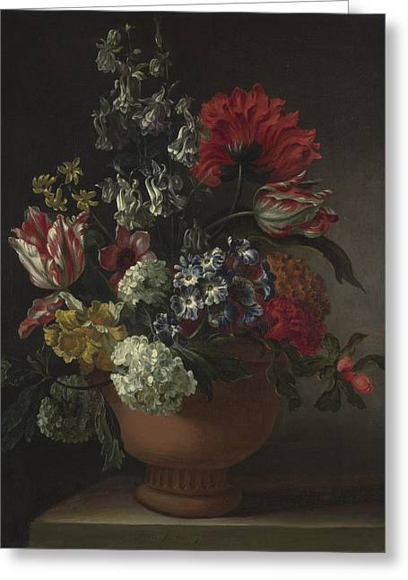 A Bowl Of Flowers Greeting Card by Marie Blancour