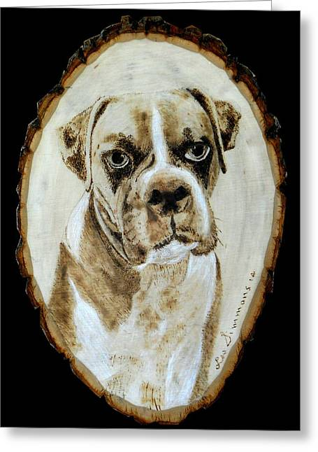 Boxer Pyrography Greeting Cards - A Boxer Greeting Card by H Leslie Simmons