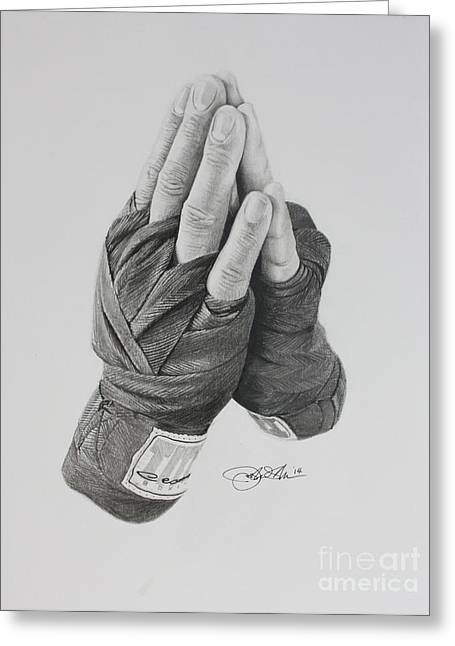 A Boxer's Prayer Greeting Card by Joshua Navarra