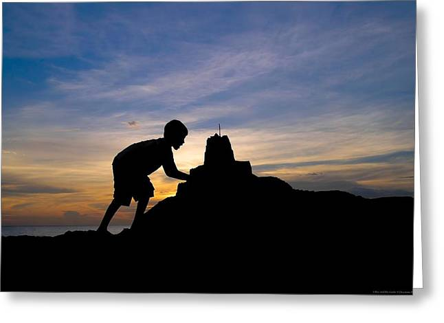 Sand Castles Greeting Cards - A Boy And His Castle Greeting Card by Chrystyne Novack