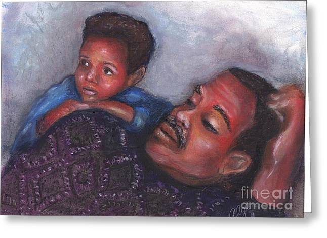 African-american Pastels Greeting Cards - A Boy and His Dad Greeting Card by Alga Washington
