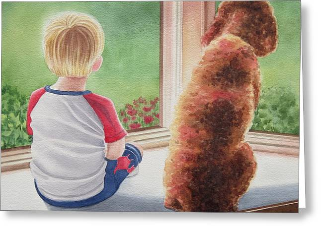 A Boy And His Dog Greeting Card by Deborah Ronglien