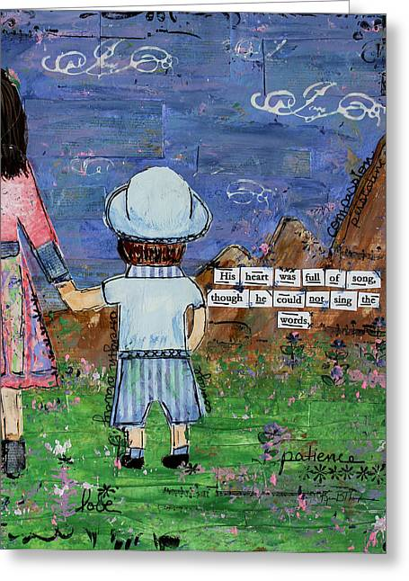 Disability Mixed Media Greeting Cards - A Boy and his Song Greeting Card by Kim Thompson