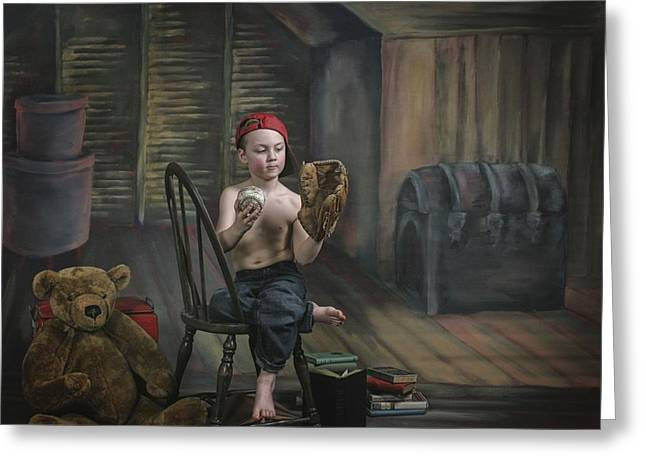 Baseball Glove Greeting Cards - A Boy In The Attic With Old Relics Greeting Card by Pete Stec