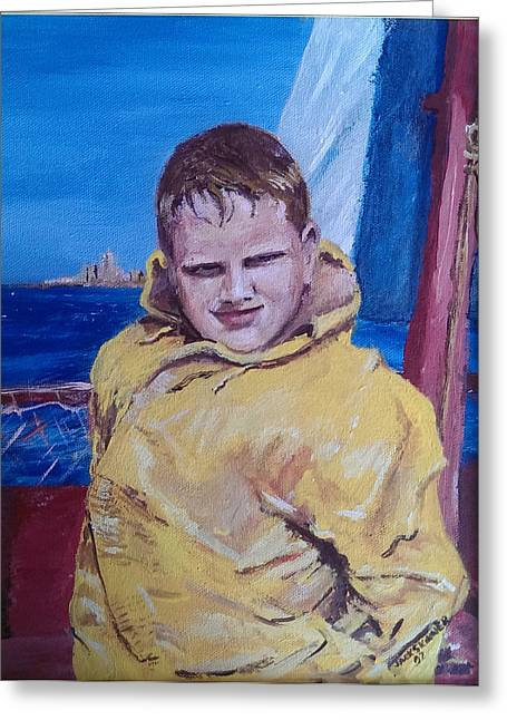 Jack Skinner Greeting Cards - A Boy on a Boat Greeting Card by Jack Skinner