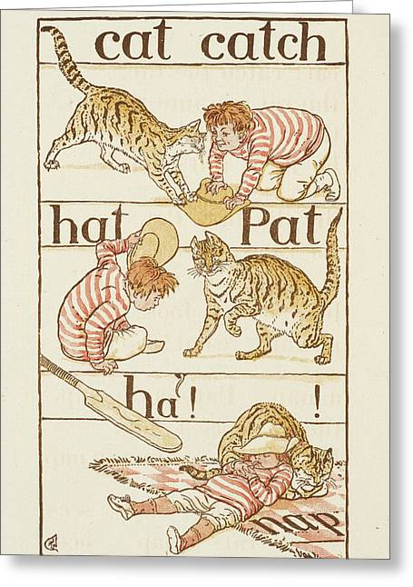 A Boy Playing With A Cat Greeting Card by British Library