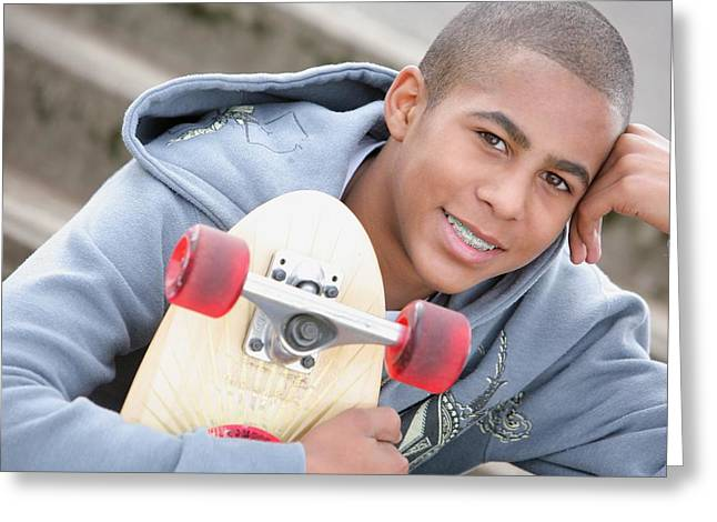 18-19 Years Greeting Cards - A Boy With A Skateboard Oregon, Usa Greeting Card by Colleen Cahill