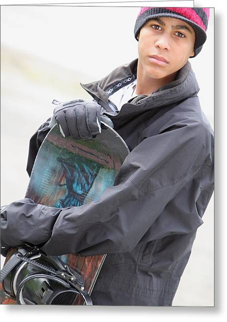 Urban Sport Greeting Cards - A Boy With A Snowboard Greeting Card by Colleen Cahill