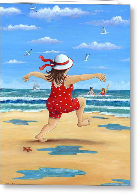 Bathing Photographs Greeting Cards - A Bracing Dip Greeting Card by Peter Adderley