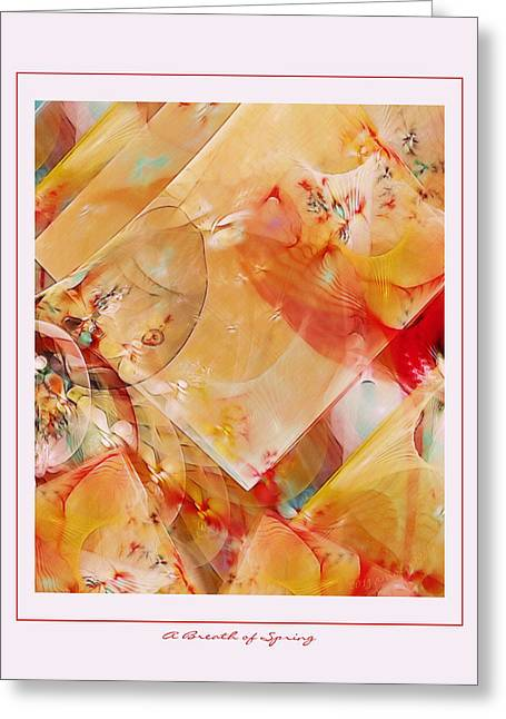 Graphic Digital Art Pastels Greeting Cards - A Breath of Spring Greeting Card by Gayle Odsather