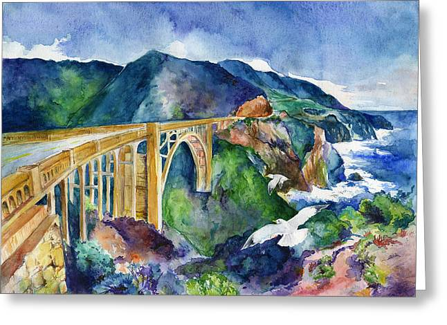 Recently Sold -  - Big Sur California Greeting Cards - A Breezy Day at Bixby Bridge by Daniel Chen 9th grade Greeting Card by California Coastal Commission