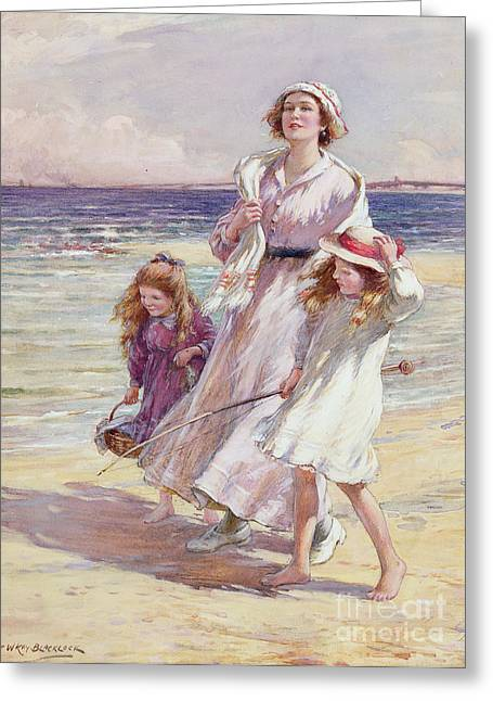 Children At Beach Greeting Cards - A Breezy Day at the Seaside Greeting Card by William Kay Blacklock