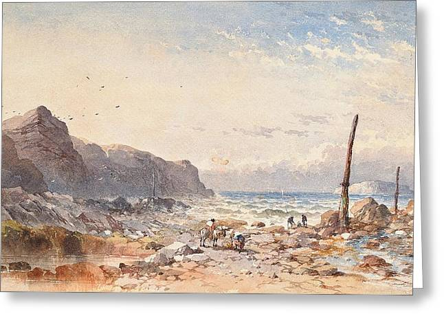 Breezy Greeting Cards - A breezy day with fisherfolk on the foreshore Greeting Card by William Cook of Plymouth