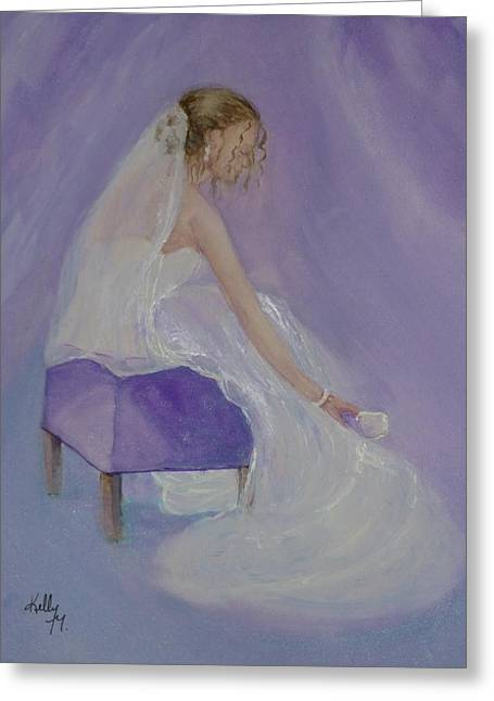 White Paintings Greeting Cards - A Brides soft touch Greeting Card by Kelly Mills