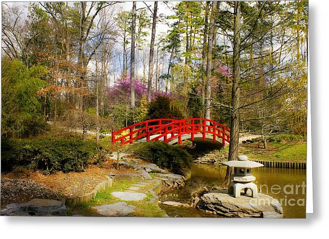 Stepping Stones Greeting Cards - A Bridge to Spring Greeting Card by Benanne Stiens