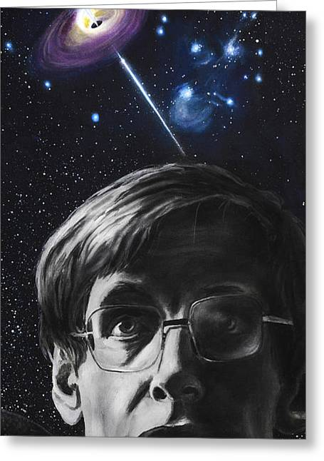 Cosmos Paintings Greeting Cards - A Brief History of Time- Stephen Hawking Greeting Card by Simon Kregar