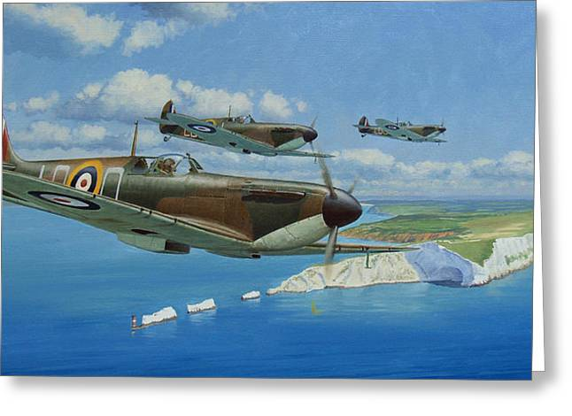 Military Airplanes Paintings Greeting Cards - A Brief Respite Greeting Card by Steven Heyen