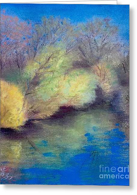 Landscape Framed Prints Pastels Greeting Cards - A Bright Day At Sharon Mills-manchester Mi  Greeting Card by Yoshiko Mishina