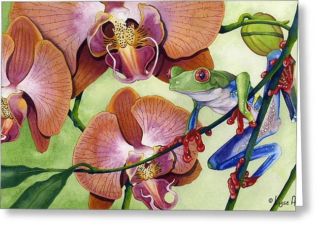 Frogs Greeting Cards - A Bright Day Greeting Card by Lyse Anthony