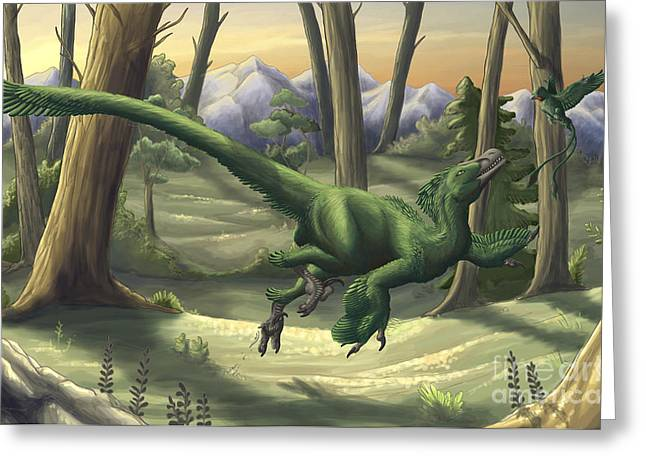 Dromaeosaurid Greeting Cards - A Bright Green Velociraptor Runs Greeting Card by Emily Willoughby