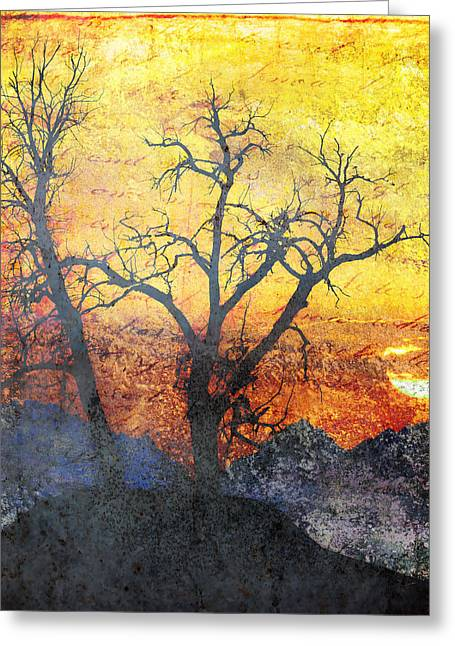 Epic Amazing Colors Landscape Digital Modern Still Life Trees Warm Natural Earth Organic Paint Chic Decor Interior Design Brett Pfister Art Fall Red Brown Tan Texture Surreal Fantasy Abstract Yellow Watercolor Paint Greeting Cards - A Brilliant Observer of Life Greeting Card by Brett Pfister