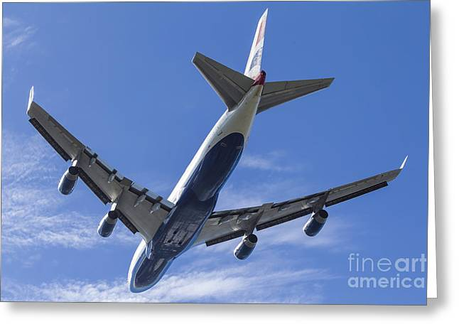 Boeing 747 Photographs Greeting Cards - A British Airways Boeing 747 Climbs Greeting Card by Rob Edgcumbe