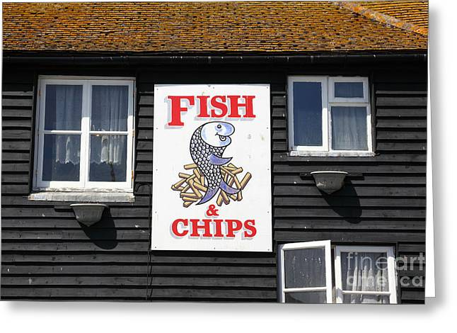 Fish And Chips A British Institution Greeting Card by James Brunker