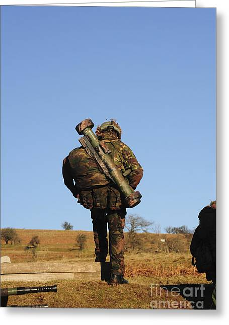 Assault Weapons Greeting Cards - A British Soldier Carrying A Matador Greeting Card by Andrew Chittock