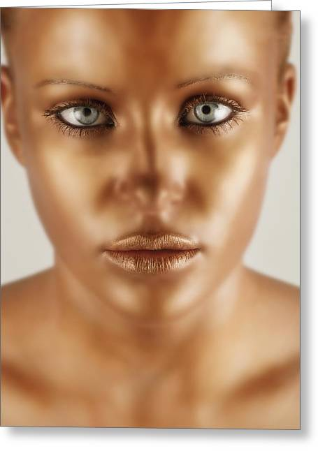 Statue Portrait Photographs Greeting Cards - A Bronze Face Greeting Card by Darren Greenwood