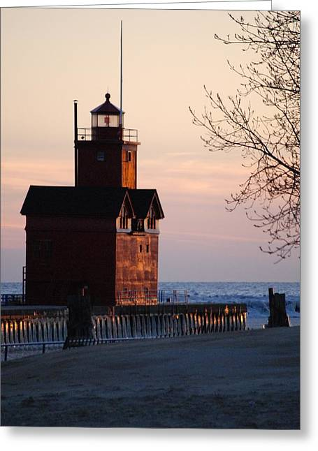 Coppery Greeting Cards - Coppery Big Red Lighthouse - 1 Greeting Card by Victoria Feazell