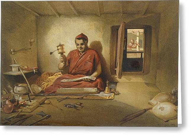 Indian Drawings Greeting Cards - A Buddhist Monk, From India Ancient Greeting Card by William