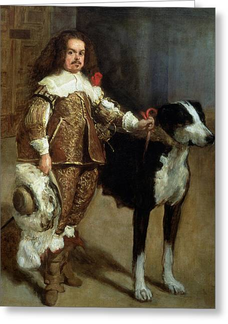 A Buffoon Sometimes And Incorrectly Called Antonio The Englishman Greeting Card by Diego Rodriguez de Silva y Velazquez