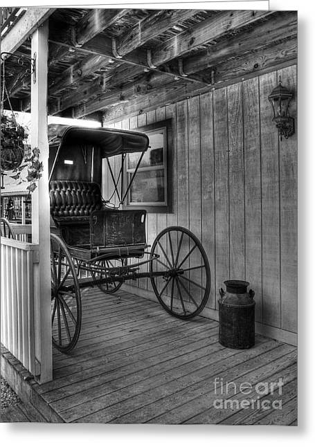 Rural Indiana Photographs Greeting Cards - A Buggy On A Porch bw Greeting Card by Mel Steinhauer