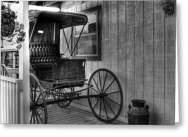 A Buggy On A Porch bw Greeting Card by Mel Steinhauer